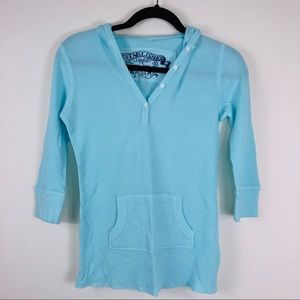 Gap Light Blue Hooded Shirt Size Small